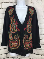 Vtg Susan Bristol Black And Paisley Hand Embroidered Button Up Cardigan Medium