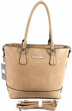 Large Womens Castella Faux Leather Tote Bag Fashion Shoulder Handbag - Khaki