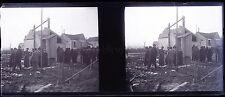 Accident ferroviaire France ? Scène de déstruction Plaque stéréo Négative 1910