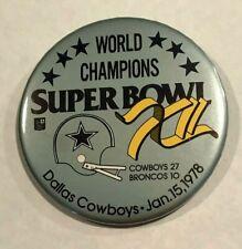 "NFL Superbowl XII - Cowboys vs Broncos 3.5"" Pin Button - Rare Collector Item"