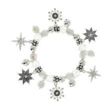 CHRISTMAS ELEGANT WHITE AND SILVERTONE AB STRETCH CRYSTAL DANGLE CHARM BRACELET
