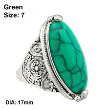 Bohemian Tibetan Finger Ring Oval Turquoise Flower Tail Antique Silver Plated