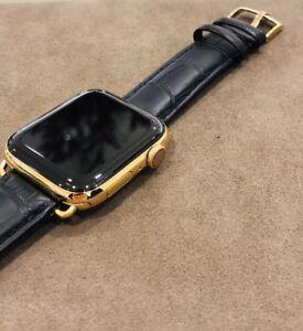 24K Gold Plated 44MM Apple Watch SERIES 4 Black Alligator Band ROLEX GPS+LTE