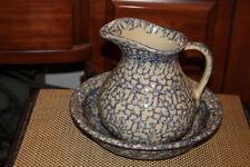 Vintage RRP Co. Blue Spongeware Pitcher Bowl-Robinson Ransbottom Roseville