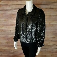 Sequin Jacket Vtg Newport News Womens Sz 12 Cropped Black Sequence Sparkle Shiny