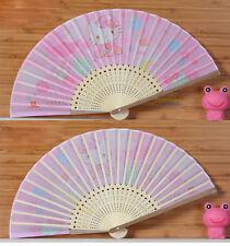 New Cute Hello Kitty Bamboo Folding Fan Pink Summer Fan