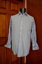 HILDITCH & KEY Blue Yellow Cotton French Cuff Dress Shirt 15.5/34 Made England