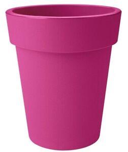 LARGE 40cm Round Barrel Tall Planter Plastic Plant Pot Dark Pink 23 Litre
