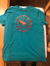 Abercrombie and fitch kids girls 13/14 aqua color t shirt w pink letters A&f