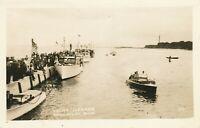 MENDMINEE MI – Yacht Harbor Real Photo Postcard rppc