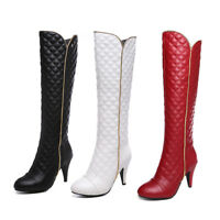 Lady's Knee High Heel Boots Black/White/Red Faux Leather Round Toe Shoes UK Size
