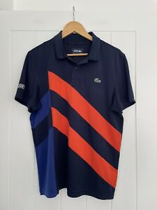 Lacoste Sport Ultra Dry Navy/Blue/Orange Polo Shirt Size M/4
