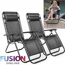 2 x Zero Gravity Chair Reclining Sun Lounger Outdoor Garden Folding Adjustable