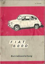 FIAT/SEAT 600 D MANUEL 1969 MODE D'EMPLOI manuel Cabriolet BA
