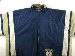 Vintage Notre Dame Fighting Irish 2XL Zip Out 2 in 1 Starter Winter Coat Jacket