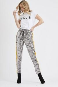 LADIES WOMENS GIRLS NEW SNAKE PRINT PAPER BAG TROUSERS WITH SIDE STRIPE ESSEX