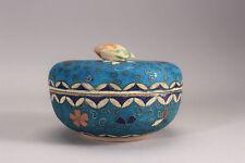Antique Japanese Vase Meiji Totai Shippo Cloisonne Lidded Box Turquoise Floral