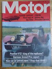 Motor 10/8/74 Lotus Elite, Porsche Carrera