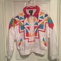 Indications Womens Multi Colored Windbreaker Jacket White Base Size XL
