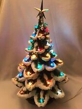 """Vintage Ceramic Flocked Christmas Tree Mold-Lighted Green 19"""" Christmas Tree"""