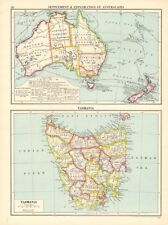 1925 ca MAP - SETTLEMENT & EXPLORATION OF AUSTRALASIA, TASMANIA