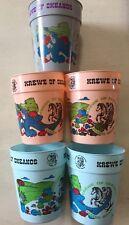 Lot Of 5 Krewe Of Okeanos Mardi Gras 2 Pink 2 Blue 1 Gray Plastic Souvenier Cups