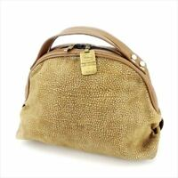 Borbonese Bag Handbag Beige Suede Leather Woman Authentic Used Q533