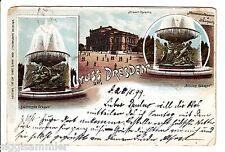Gruss aus Dresden AK 1899 Mehrbild Monumentalbrunnen Litho Sachsen 1511028
