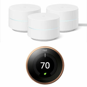 Google Wifi Network Router (3pk) w/ Learning Thermostat, Copper Bundle