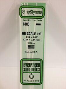 Evergreen EV8103 Moulure En Échelle Ho 0,3x0,8x350mm (10pz) Modélisme