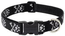 "Lupine Dog Collar 3/4"" BLING BONZ 9"" - 14"" Black Silver Paws Cross Bones New USA"