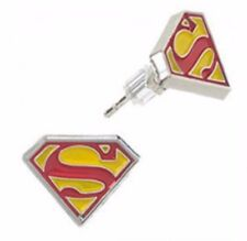 DC Comics SUPERMAN Logo Metal Enamel Stud Earrings