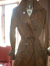 Burberry Brit Brown DRAW STRING Parka Jacket COAT RAIN TRENCH SZ 6 & WARM JACKET