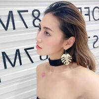 Monstera Leaf Dangle Earrings Women Statement Hook Metal Gold Leaves Ear Drop H