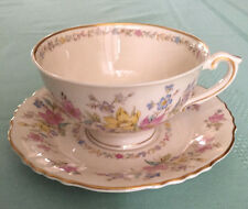 Syracuse China Federal Shape Briarcliff Pedestal Cup & Saucer Flowers Pastel