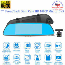 "7"" Dash Camera Dual Lens Front/Rear Full HD 1080P Mirror Monitor Car Vehicle DVR"