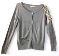 Buch Copenhagen Womens Jumper Cardigan Grey Beaded Size L UK 14 Mohair Cashmere