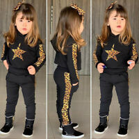 ❤️ Toddler Kids Baby Girls Tracksuit Leopard Hooded Tops Pants Outfits Set