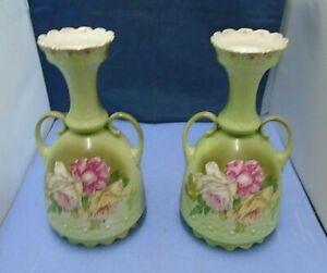 Two Vintage Porcelain Floral Pattern Vases