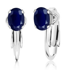 2.04 Ct Oval Blue Sapphire 925 Sterling Silver Clip-On Earrings