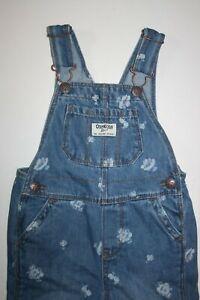 New OshKosh Girls Denim Blue Jean Overalls 2T Cornflower Blue Wash Vestbak