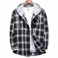 Hooded Men's Shirts Casual Plaid Outwear Long Sleeves Warm Clothing Button-down