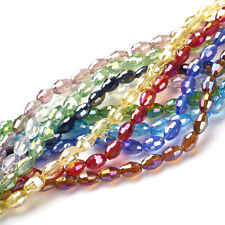 10Strds Electroplate Glass Beads Oval Faceted AB Color Colorful Loose Bead 6x4mm