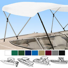 "BIMINI TOP BOAT COVER WHITE 3 BOW 72""L 46""H 54""-60""W - W/ BOOT & REAR POLES"