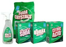 Traditional Cleaning Combo! Soda Crystals, Bicarb, Borax, Citrus, White Vinegar