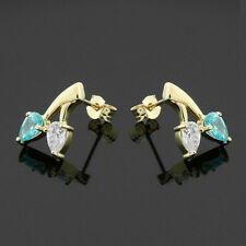 9ct Yellow Gold Cubic Zirconia Pear Stud Earrings Hand MADE IN UK -Free Box