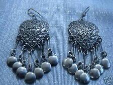 """Egyptian Sterling Silver Oxodized Heart Earrings 2.5"""""""