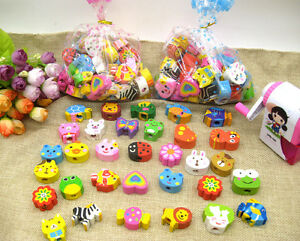 Cute Animals Shaped Pencil Top Erasers Fun Kids Rubbers Party Gift Bag Fillers