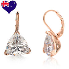 Clear Cz Drop Earrings Rose gold Bridal Wedding Plated Round Trillion Lever back