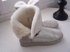 UGG SILVER BAILEY BUTTON BLING SWAROVSKI CRYSTAL BOOTS SIZE 10